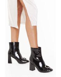 "Nasty Gal ""when The Sun Don't Shine Buckle Block Heel Boots"" - Black"