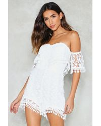 Nasty Gal - Gimme Some Lace Off-the-shoulder Romper - Lyst