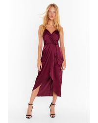 "Nasty Gal ""wrap And V-neckline Satin Midi Dress"" - Red"