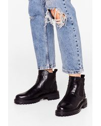 Nasty Gal Faux Leather Pin Stud Ankle Boots - Black