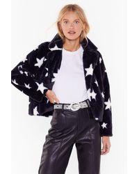 "Nasty Gal ""destined For Stardom Cropped Faux Fur Coat"" - Black"