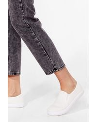 Nasty Gal Don't Slip Up Canvas Trainers - White