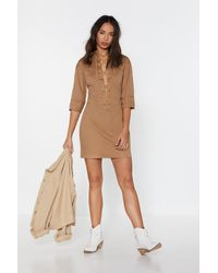 """Nasty Gal """"the String Theory Lace-up Shirt Dress"""" - Natural"""
