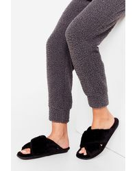 Nasty Gal Not Ready Fur Today Faux Fur Slippers - Black