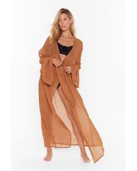 Nasty Gal Keep Your Pool Belted Cover-up Kimono - Brown