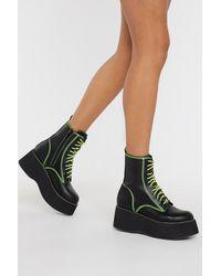 "Nasty Gal ""good Form Platform Neon Boots"" - Black"