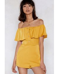 Nasty Gal - Sorry To Button In Off-the-shoulder Romper - Lyst