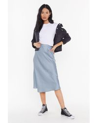 "Nasty Gal ""you Make Me Slick Bias Cut Midi Skirt"" - Gray"