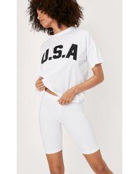 Nasty Gal Jersey High Waisted Longline Biker Shorts - White