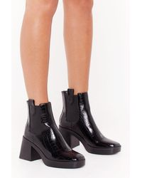 """Nasty Gal """"croc Faux Leather Boots With Embossed Design"""" - Black"""