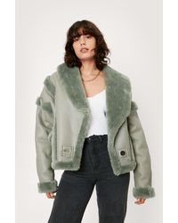 Nasty Gal Faux Fur Lined Faux Leather Aviator Jacket - Multicolour
