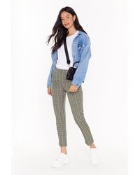 """Nasty Gal """"plaid Your Cards Right High-waisted Tapered Pants"""" - Multicolour"""
