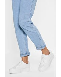 Nasty Gal Platform Faux Leather Sneakers - White