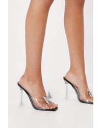 Nasty Gal Diamante Butterfly Clear Heeled Mules - Black