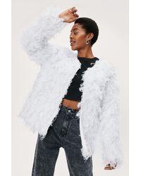Nasty Gal Frayed Tinsel Shaggy Long Sleeve Jacket - White