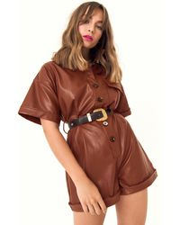 "Nasty Gal ""at One Faux Leather Button-down Romper"" - Brown"