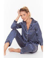 "Nasty Gal ""mark The Spot Satin Pyjama Trousers Set"" - Blue"