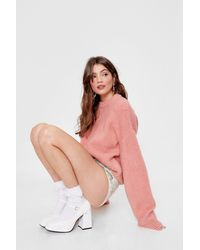 Nasty Gal Knitted Oversized Crew Neck Jumper - Pink