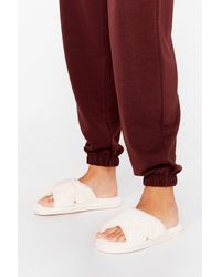 Nasty Gal Not Ready Fur Today Faux Fur Slippers - White