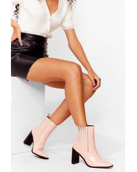 Nasty Gal Pointed Croc Heeled Boots - Pink