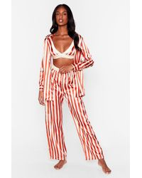 Nasty Gal Pyjama Oversize 3-Pièces En Satin À Rayures Sweet Dreams Are Made Of This - Rouge