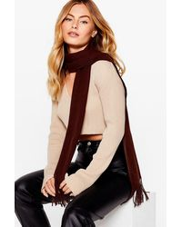 Nasty Gal Strike Up A Fringe-ship Woven Scarf - Brown