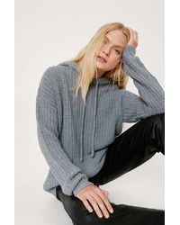 Nasty Gal Chunky Ribbed Knit Oversized Hoodie - Grey