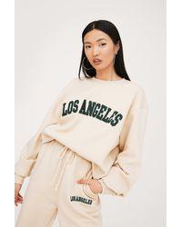 Nasty Gal Sweat Oversize À Broderie Los Angeles - Neutre