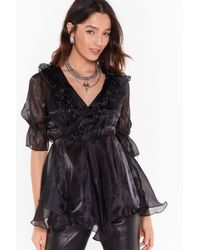 """Nasty Gal """"cool Now Shimmer Ruffle Organza Blouse"""" - Black"""
