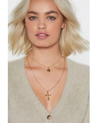 Nasty Gal - Layer It On Cross Necklace - Lyst