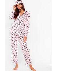 Nasty Gal Pyjama 3 Pièces À Imprimé Pois Je Suis Pois Prête Pour Dormir - Rose