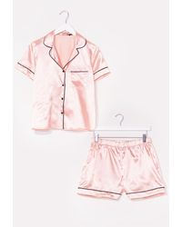 Nasty Gal Straight To Sleek Satin Pyjama Shorts Set - Pink