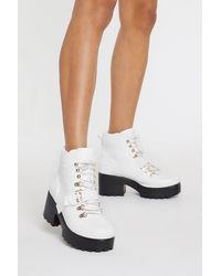 "Nasty Gal ""block My World Faux Leather Boots"" - White"