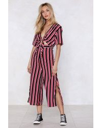 Nasty Gal - Get Straight To It Striped Crop Top And Trousers Set - Lyst