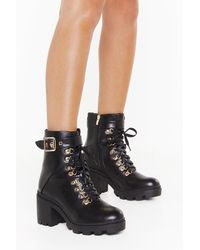 """Nasty Gal """"see You Lace-up Block Heel Boots"""" - Black"""