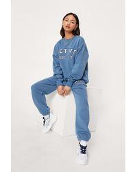 Nasty Gal Petite Active Society Crew Neck Sweatshirt - Blue