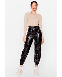 Nasty Gal Faux Leather Slouchy Jogger Trousers - Black