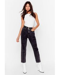 """Nasty Gal """"we Attract Trouble Distressed Mom Jeans"""" - Black"""