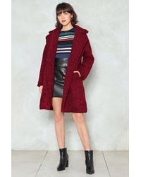 Nasty Gal - Cover Up Faux Shearling Coat - Lyst