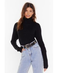 """Nasty Gal """"knit Was Worth Knit Ribbed High Neck Sweater"""" - Black"""