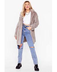 Nasty Gal Fur-get Me Not Faux Fur Coat - Grey