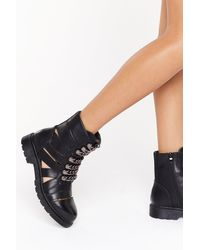 """Nasty Gal """"cut Out Chain Lace Biker Boots"""" - Black"""