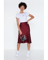 """Nasty Gal """"just My Type Satin Midi Skirt"""" - Red"""