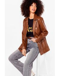 Nasty Gal Don't Call It Quilts Faux Leather Jacket - Brown