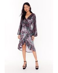 "Nasty Gal "" Paisley Velvet Wrap Ruffle Midi Dress"" - Purple"