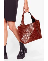 Nasty Gal Want Croc Your Baby Faux Leather Tote Bag - Red