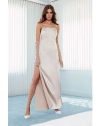 "Nasty Gal ""until Death Do Us Party Scoop Satin Bridal Dress"" - White"