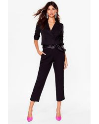 Nasty Gal We're Bow Worth It Blazer And Trousers Set - Black