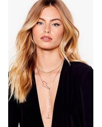 Nasty Gal Storm Ahead Lightening Bolt Layered Necklace - Metallic