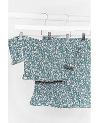 Nasty Gal Floral Shirred Ruffle Mini Skirt - Blue
